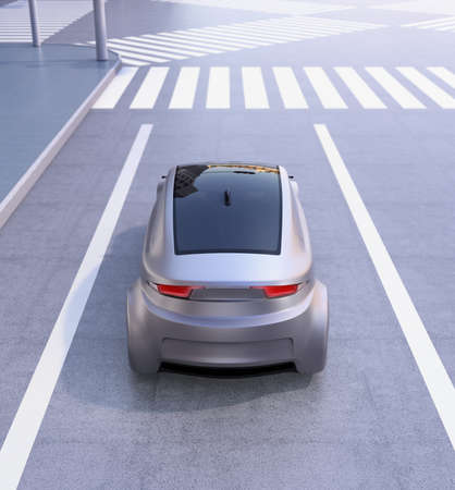 交差点で待っている自律走行車のリアビュー。3 D レンダリング イメージ。