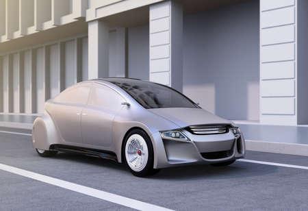 道路上の銀の自律車。3 D レンダリング イメージ。 写真素材