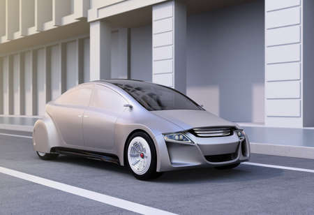 crossover: Silver autonomous car on the road. 3D rendering image.