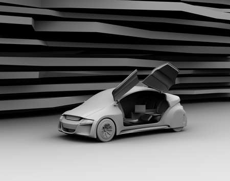 sunroof: Clay model rendering of self-driving car on abstract background. 3D rendering image.