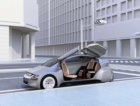 銀自律の車は道路の側の駐車場します。3 D レンダリング イメージ。
