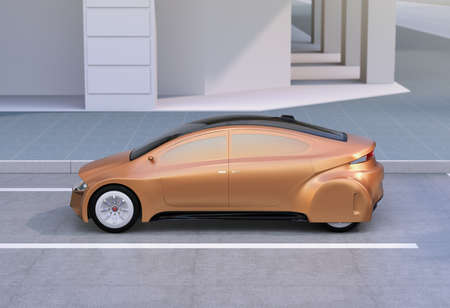 sunroof: Golden autonomous car parking at the side of the road. 3D rendering image.