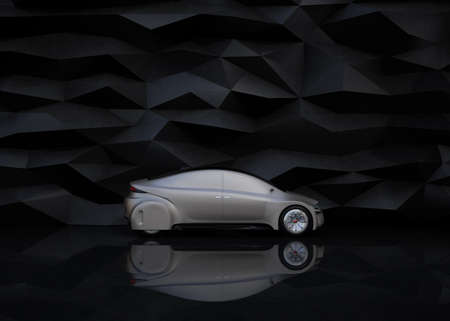 sunroof: Side view of silver autonomous car on abstract background. 3D rendering image.