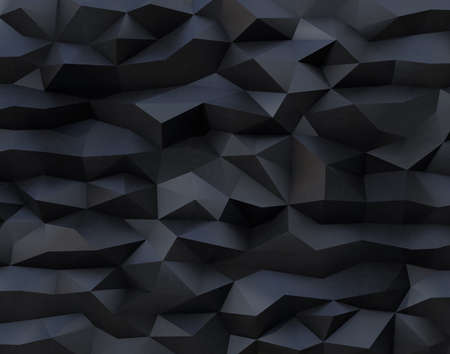 Abstract black background with triangulate polygon pattern. 3D rendering image. Stock Photo