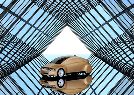 Champagne gold sedan on kaleidoscope style background. 3D rendering image.