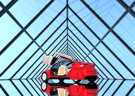 Metallic red car on triangulate shape background. 3D rendering image.