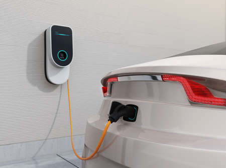 Electric vehicle charging station for home.  3D rendering image. Archivio Fotografico
