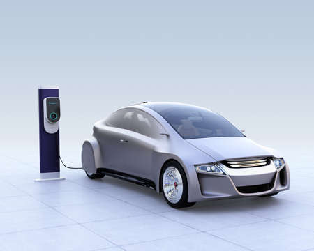Silver electric car and EV charging station on gradient background. 3D rendering image. Stock Photo