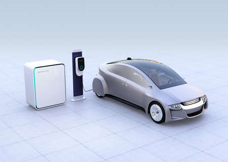 Electric vehicle, charging station and battery unit on gradient background. 3D rendering image.