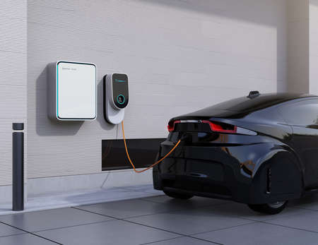 Electric vehicle charging station for home.  3D rendering image. Banco de Imagens