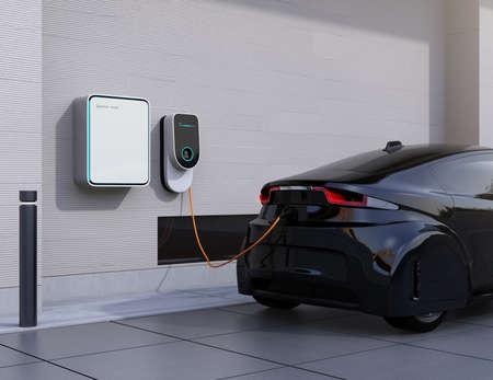 Elektrische auto laadstation voor thuis. 3D-rendering afbeelding. Stockfoto