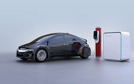 Side view of electric vehicle, charging station and battery unit. 3D rendering image. Stock Photo