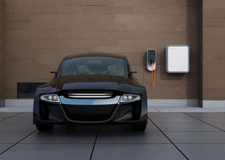 front view: Front view of black electric car charging at home charging station. 3D rendering image. Stock Photo