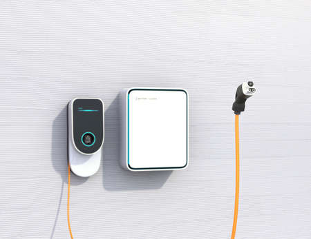 Home EV charging station and battery on the wall. Power supply for electric car charging. 3D rendering image. Stock Photo
