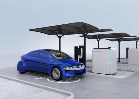 Blue electric car in EV charging station. 3D rendering image.