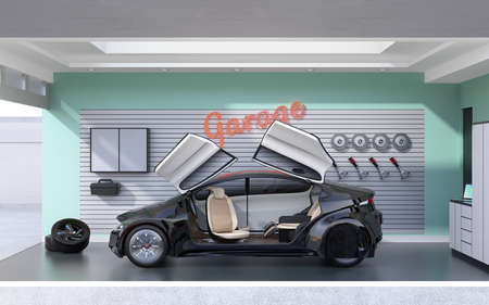 sunroof: Black car parking into a stylish garage. 3D rendering image. Stock Photo