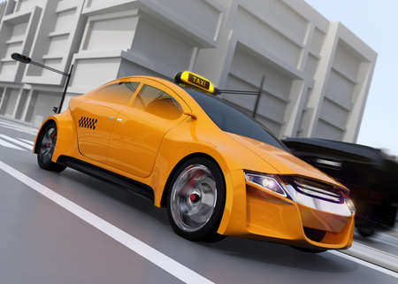 Yellow taxi driving on the street. 3D rendering image.