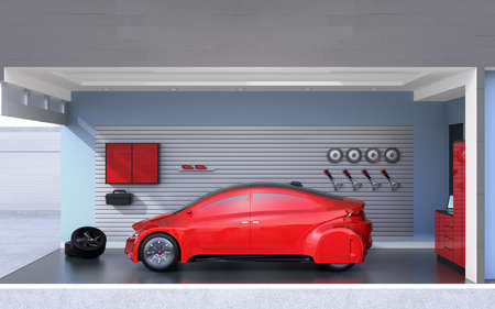Side view of red car parking into a stylish garage. 3D rendering image. Stock Photo
