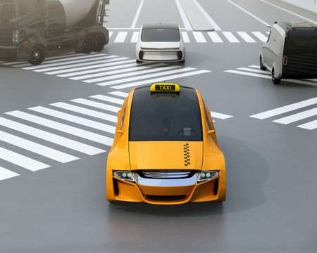 Yellow electric powered taxi driving on the street. 3D rendering image.