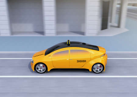 Side view of yellow taxi passing the crossroads. 3D rendering image. Stock Photo