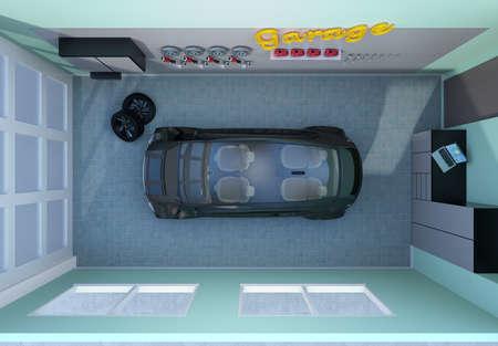 sunroof: Top view of garage interior. 3D rendering image.
