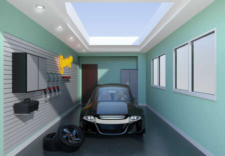 sunroof: Front view of stylish garage interior. 3D rendering image.