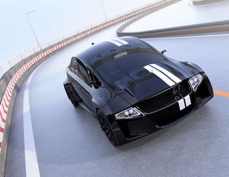Black electric sports car driving on the highway. 3D rendering image.