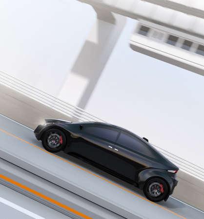 黒い電動スポーツ車の背景にモノレールと高速道路の運転の側面図です。3 D レンダリング イメージ。 写真素材 - 76688065