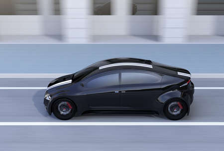 Side view of black sports car driving on the street. 3D rendering image.