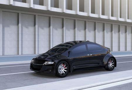 路上で黒のスポーツ セダン。3 D レンダリング イメージ。 写真素材