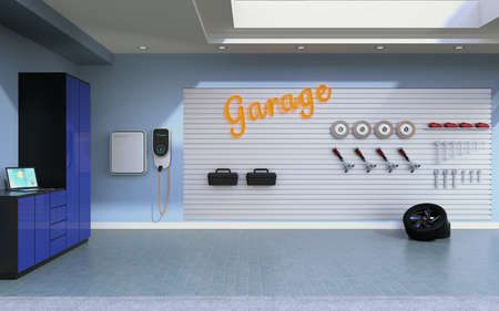 Side view of empty residential garage with electric vehicle charging station. 3D rendering image.