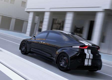 黒スポーツ車の路上運転のリアビュー。3 D レンダリング イメージ。 写真素材