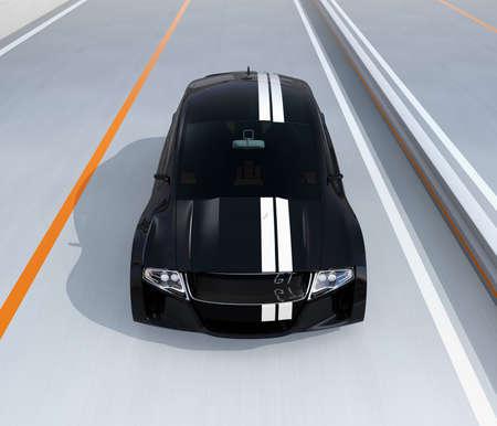 高速道路黒電動スポーツ車のフロント ビュー。3 D レンダリング イメージ。 写真素材 - 76688066