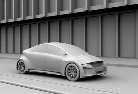 Clay model rendering of electric car on the street.  3D rendering image. 写真素材