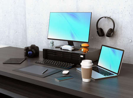 pc monitor: Graphic designer desktop with DSLR camera,laptop PC and bezel-less monitor. 3D rendering image.