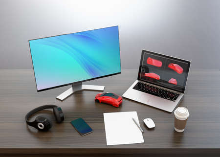 pc monitor: Product designer desktop with bezel-less monitor, laptop PC and wireless headphone. 3D rendering image.
