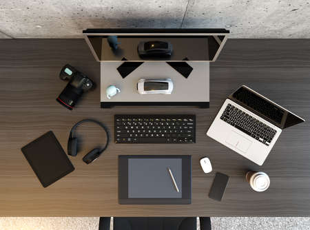 Top view of graphic designer desktop with laptop, digital graphic tablet, DSLR camera, wireless headphone and keyboard. 3D rendering image.