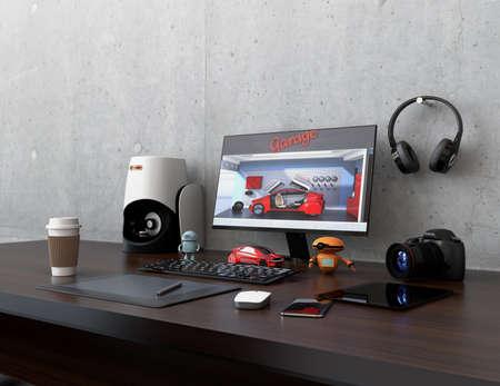 bezel: Product designer desktop with 3D scanner, digital graphic tablet, DSLR camera and bezel-less monitor. 3D rendering image.