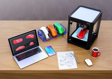 3D printer, laptop and product color samples. CMF(Color, Material and Finish) design process concept. 3D rendering image. Stock Photo