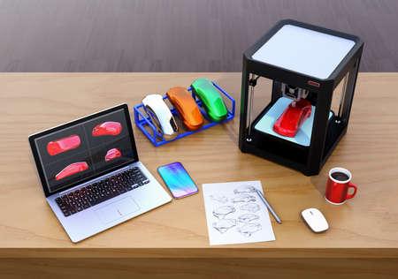 Impresora 3D, laptop y muestras de colores de productos. CMF (color, material y acabado) concepto de proceso de diseño. Imagen de renderizado 3D. Foto de archivo