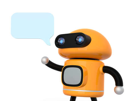 Cute orange robot with text bubble isolated on white background. 3D rendering image.