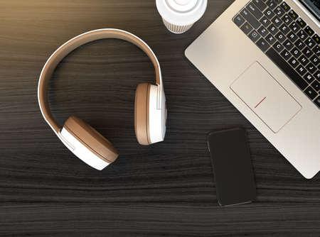 ワイヤレス ヘッド フォン、暗い木製のテーブルにノート パソコン。3 D レンダリング イメージ。