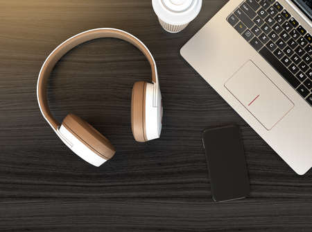 Wireless headphone, laptop PC on dark wooden table. 3D rendering image. Stock Photo - 77441334