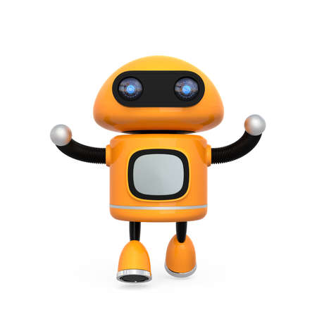 Cute orange robot isolated on white background. 3D rendering image. Stock Photo - 77455748