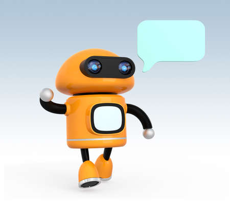 Cute orange robot with text bubble isolated on light blue background. 3D rendering image.