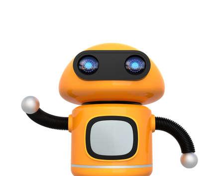 かわいいオレンジ色のロボットは、白い背景で隔離。3 D レンダリング イメージ。 写真素材