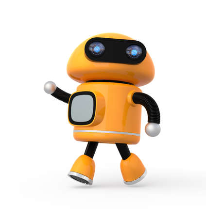 Cute orange robot isolated on white background. 3D rendering image.