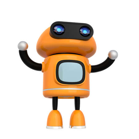 Cute orange android robot isolated on white background. 3D rendering image.