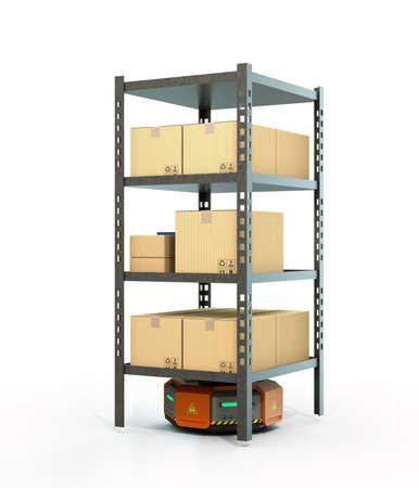 オレンジ色のロボットが白い背景に分離された商品のパレットを運ぶします。3 D レンダリング イメージ。