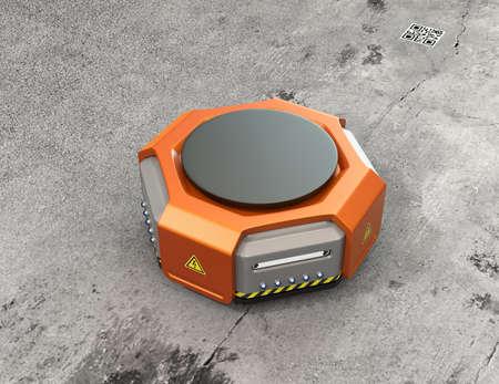 コンクリートの背景にオレンジ色の倉庫ロボット。3 D レンダリング イメージ。